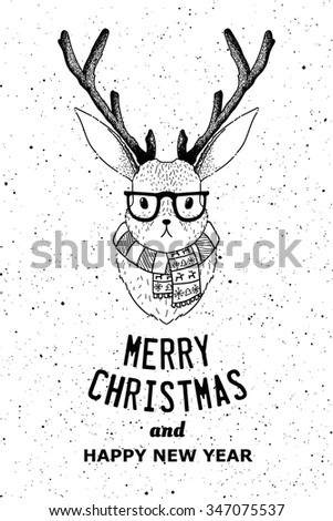 Hipster jacalope vector illustration. Horned rabbit retro poster. Bunny with horns t-shirt grunge print. Fantasy Merry Christmas card or poster idea. - stock vector
