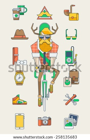 Hipster Kit, hipster on a bike with vector elements. line style - stock vector
