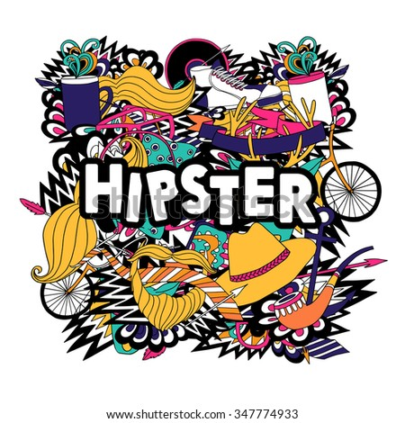 Hipster lifestyle accessories and fashion symbols compositions with pipe and fake mustaches pictograms poster abstract vector illustration - stock vector
