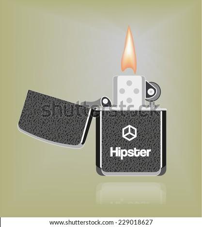 Hipster lighter - stock vector