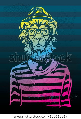 Hipster Lion Gradient - stock vector