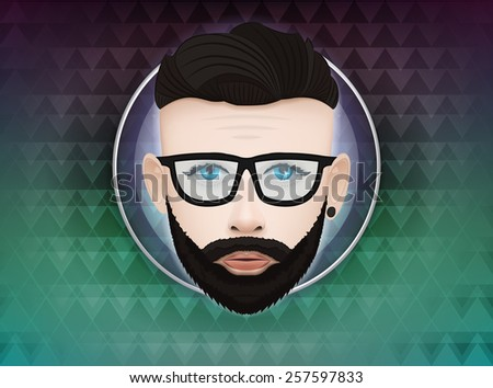 hipster male character label on triangle background trendy lifestyle vector illustration  - stock vector