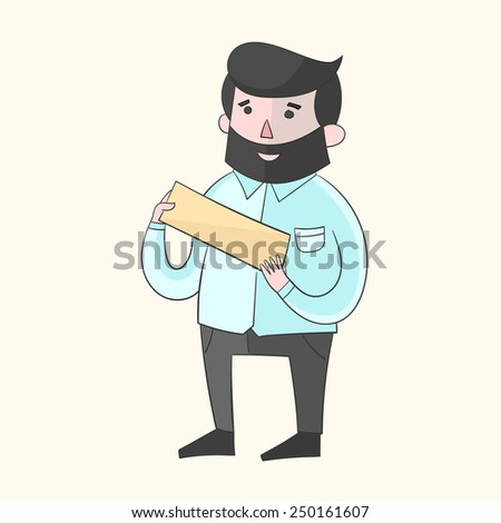 Hipster man beard with plate for text color vector illustration - stock vector