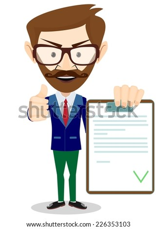 Hipster Man Holding a Document in Which All Approved, Validated, Agreed. The Document Put the Green Check Mark, Flags. Vector Illustration - stock vector