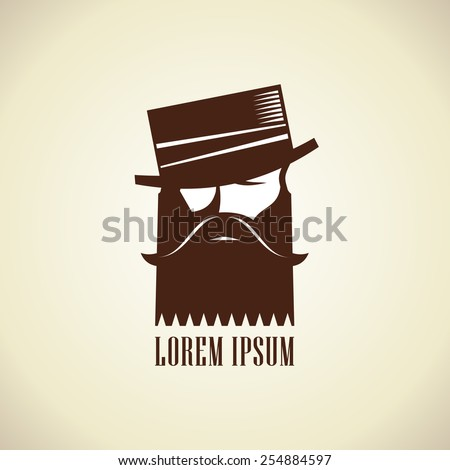 Hipster man with a beard and mustache in hat stylish logo template. - stock vector
