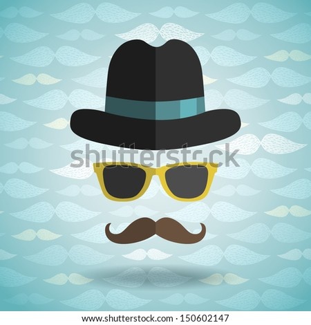 hipster man with hat, glasses, mustache on pattern background - stock vector