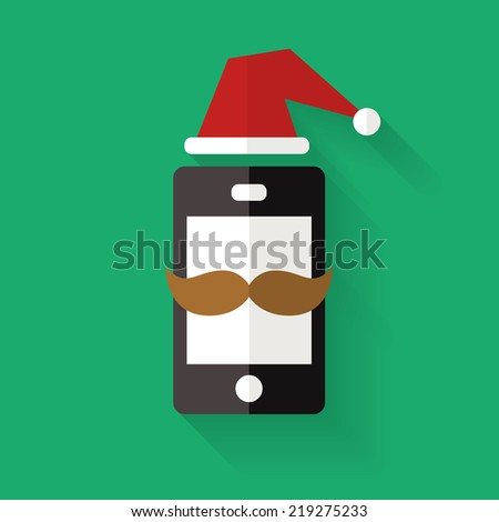 Hipster mobile phone icon with mustache and Christmas hat, vector flat style illustration. - stock vector