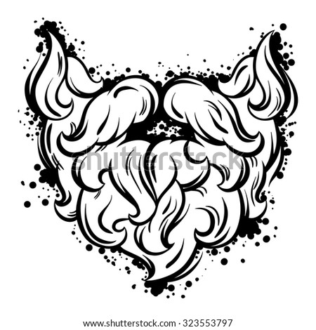 Hipster mustache and beard in line art style. - stock vector
