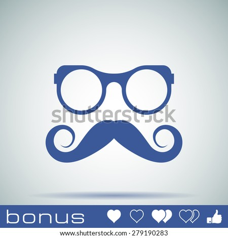 hipster Mustache and Glasses Icon - stock vector