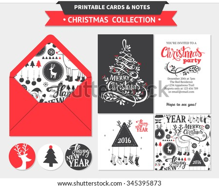 Hipster New Year and Merry Christmas invitation set. Vector printable cards, stickers and banners with dear, santa, tree, snowflake, etc. - stock vector