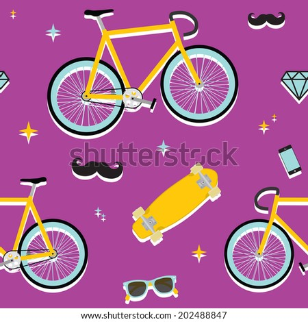 Hipster objects seamless purple vector pattern - stock vector