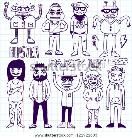 Hipster party doodle set. School notebook. Vector illustration. - stock vector