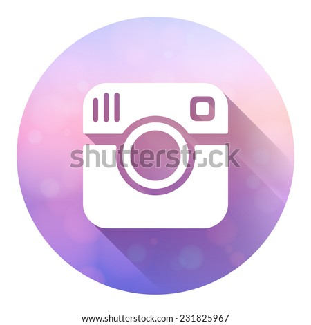 Hipster photo camera icon with long shadow. Vector logo isolated on colorful blured background. EPS10 vector. - stock vector