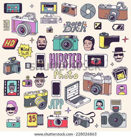 Hipster photo doodle hand drawn vector colorful set.  - stock vector