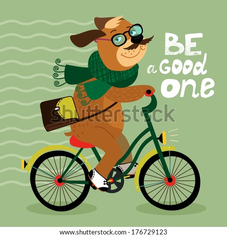 Hipster poster with nerd dog riding bike vector illustration - stock vector