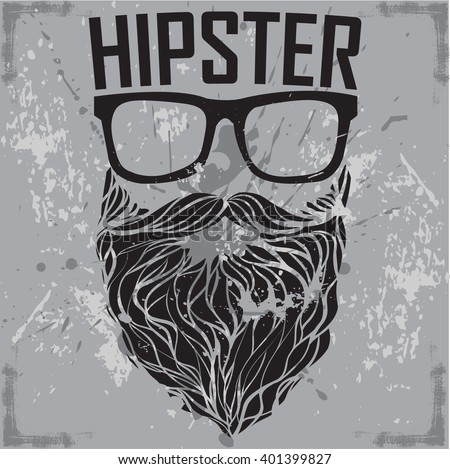 HIPSTER print for t-shirt. HIPSTER sunglasses beard modern street style attributes. Vector art. - stock vector
