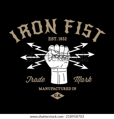 hipster protest label iron fist ( T-Shirt Print ) with hand lightning - stock vector