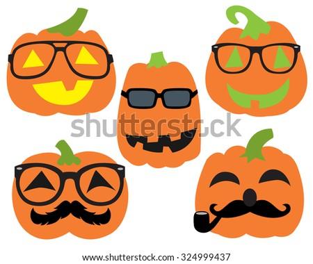 Hipster Pumpkins Halloween Pumpkin Characters wearing glasses and mustache  - stock vector