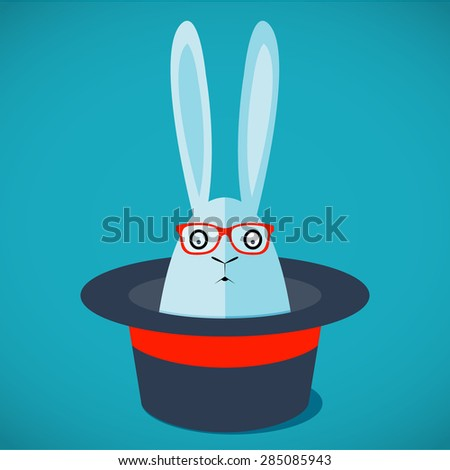 Hipster rabbit in magic hat. - stock vector
