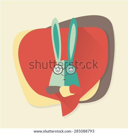 Hipster rabbit with glasses in a speech bubble.  - stock vector