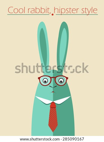 Hipster rabbit with glasses. Vector postcard. Business concept. - stock vector