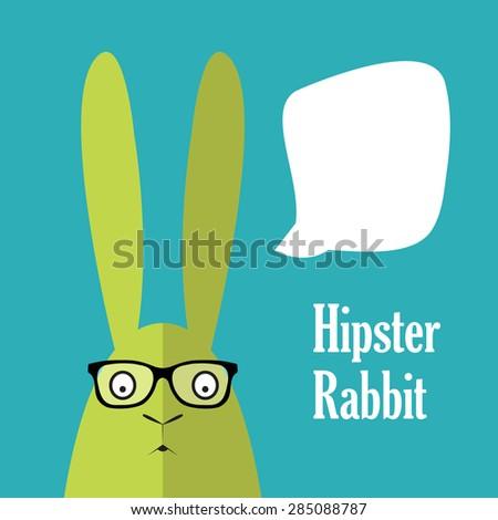Hipster rabbit with speech bubble. Vector postcard - stock vector