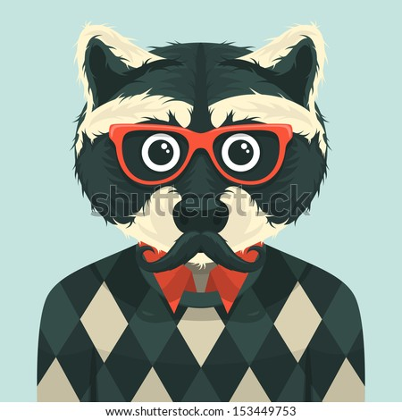 Hipster raccoon. Vector illustration. - stock vector