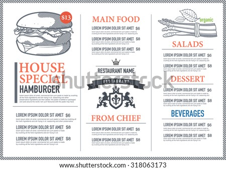 Hipster restaurant menu design - stock vector