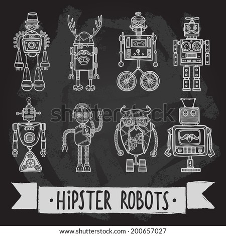 Hipster robot retro humanoid avatar black silhouette icons set isolated vector illustration. - stock vector