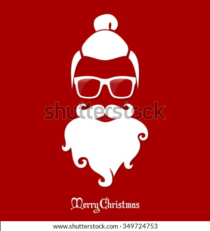 Hipster Santa Claus, Party, Greeting Card, Banner, Sticker, Hipster Style. Topknot Hairstyle. - stock vector