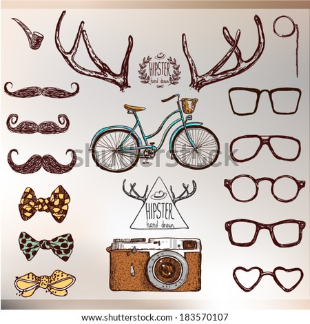 Hipster set: horns, glasses, mustache, bow. Vector illustration on vintage background hand drawn with label - stock vector