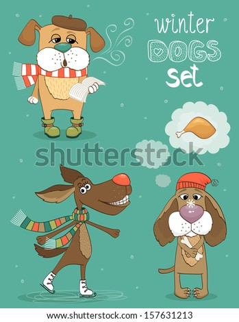 Hipster set of cute winter fashion dogs vector illustration - stock vector