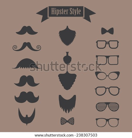 hipster set of mustache, beard and glasses - stock vector