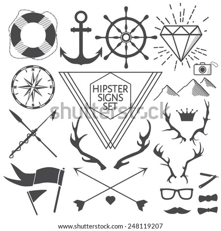 Hipster signs and symbols set with anchor, lifebuoy, steering wheel, diamond, camera, antlers, mustache, glasses, etc. Vector Illustration for artwork, party flyers, posters, banners, other desing - stock vector
