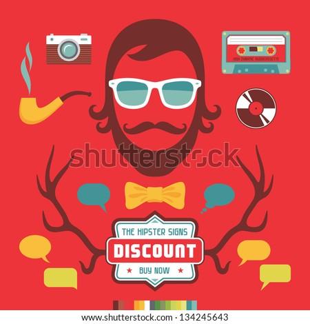 Hipster Signs Elements. Human face illustration. Hipster design elements. - stock vector