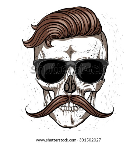 Hipster skull with mustache and glasses.White background - stock vector