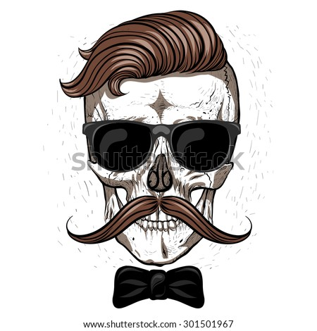 Hipster skull with mustache and glasses.White background.bow tie. - stock vector