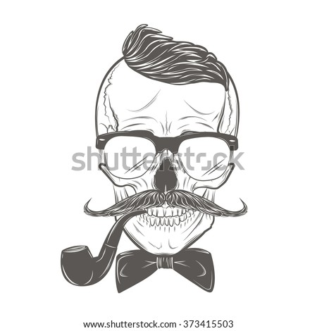 Hipster skull with mustache, bow tie and smoking pipe. Skull print, skull illustration  isolated on white background. Vector mode - stock vector