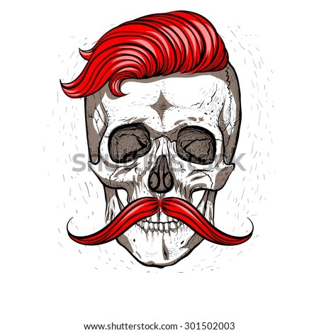 Hipster skull with mustache.White background. - stock vector