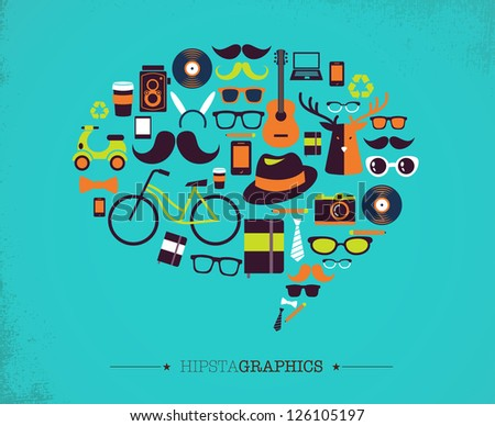 Hipster speech bubble with icons - stock vector
