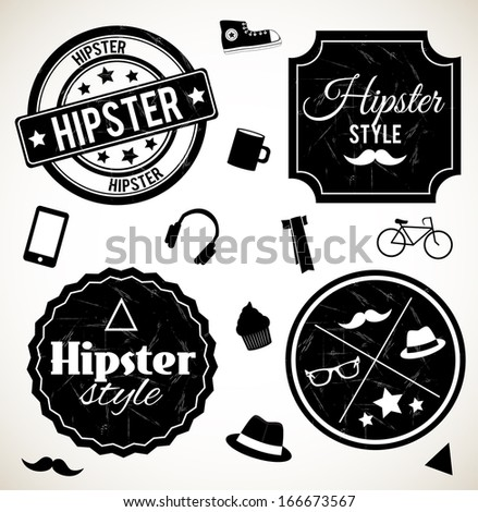 Hipster stamps isolated on white background. VECTOR illustration. - stock vector