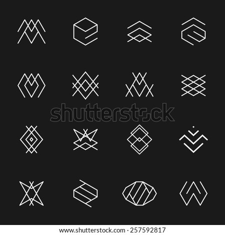 Hipster style icons, labels for logo design. Abstract geometric pattern shapes template, possible deconstruction.  - stock vector