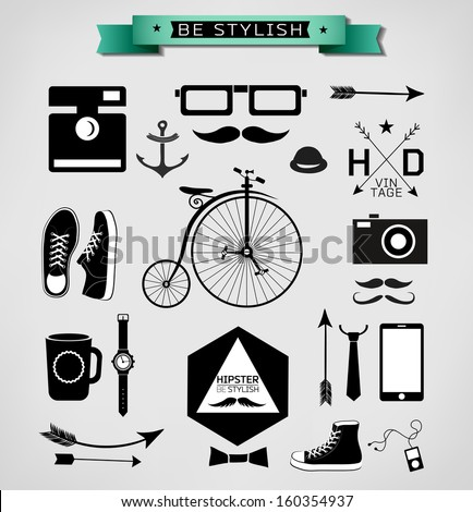 Hipster style info graphic element and icon /Vector illustration - stock vector