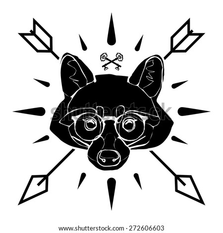 Hipster style racoon logo - stock vector