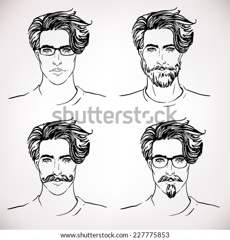 Hipster Style: trendy fashion men. Sketch character set Vector illustration. - stock vector