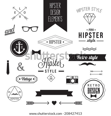Hipster Style Vintage Design Elements - stock vector
