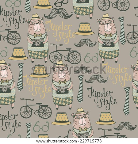 Hipster Style with cute bear. Seamless Background. - stock vector