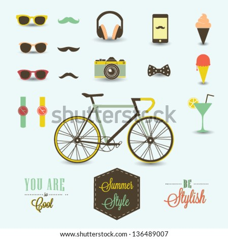 Hipster summer collection - stock vector