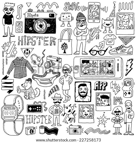 Hipster swag hand drawn doodle set. Vector illustration.  - stock vector