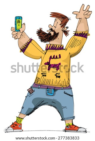 hipster taking selfie - cartoon - stock vector